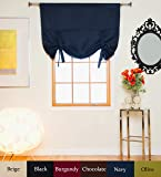 Navy Rod Pocket Thermal Insulated Blackout Tie Up Shade Curtain, 46 Inch Wide By 64 Inch Long Panel