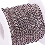 BENECREAT 10 Yard Crystal Rhinestone Close Chain Clear Trimming Claw Chain Sewing Craft About 2880pcs Rhinestones, 2mm - Amethyst (Silver Bottom) (Color: Amethyst (Silver Bottom), Tamaño: 2mm)