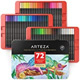 ARTEZA Inkonic Fineliners Fine Point Pens, Set of 72 Fine Tip Markers with Color Numbers, 0.4mm Tips, Ergonomic Barrels, Brilliant Assorted Colors for Coloring, Drawing & Detailing (Color: Inkonic, Tamaño: Set of 72)