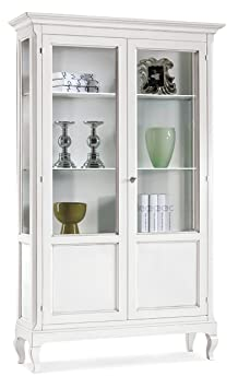 Vetrina a 2 porte in legno finitura bianco opaco 126x44 H.207