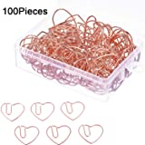 Jetec 100 Pieces 3 cm Love Heart Shaped Small Paper Clips Bookmark Clips for Office School Home (Rose Gold) (Color: Rose Gold)