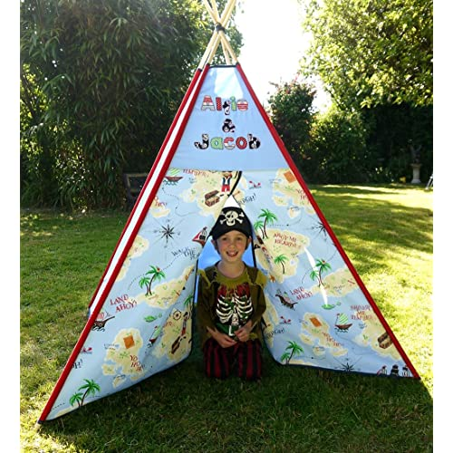 Personalized Pirate Teepee / Tipi Childrens large play tent. Perfect boys or girls gift. Can be personalized with fabric lettering.