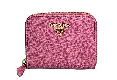 Amazon.com: Prada Saffiano Metal Zip Around Mini Wallet Coin Purse ...