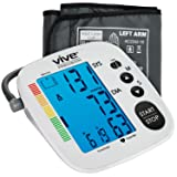 Blood Pressure Monitor by Vive Precision - Automatic Digital Upper Arm Cuff - Accurate, Portable BPM, Perfect for Home Use - Electronic BP Meter Measures Pulse Rate - 1 Size Fits Most Cuff, Silver (Color: Silver)