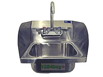 "Space Saver Wall Mount Hand Sink 12-3/8""(W) X 12-1/8""(L) with Welded Splash Guards and No Lead Faucet AA-410G and Strainer.ETL"