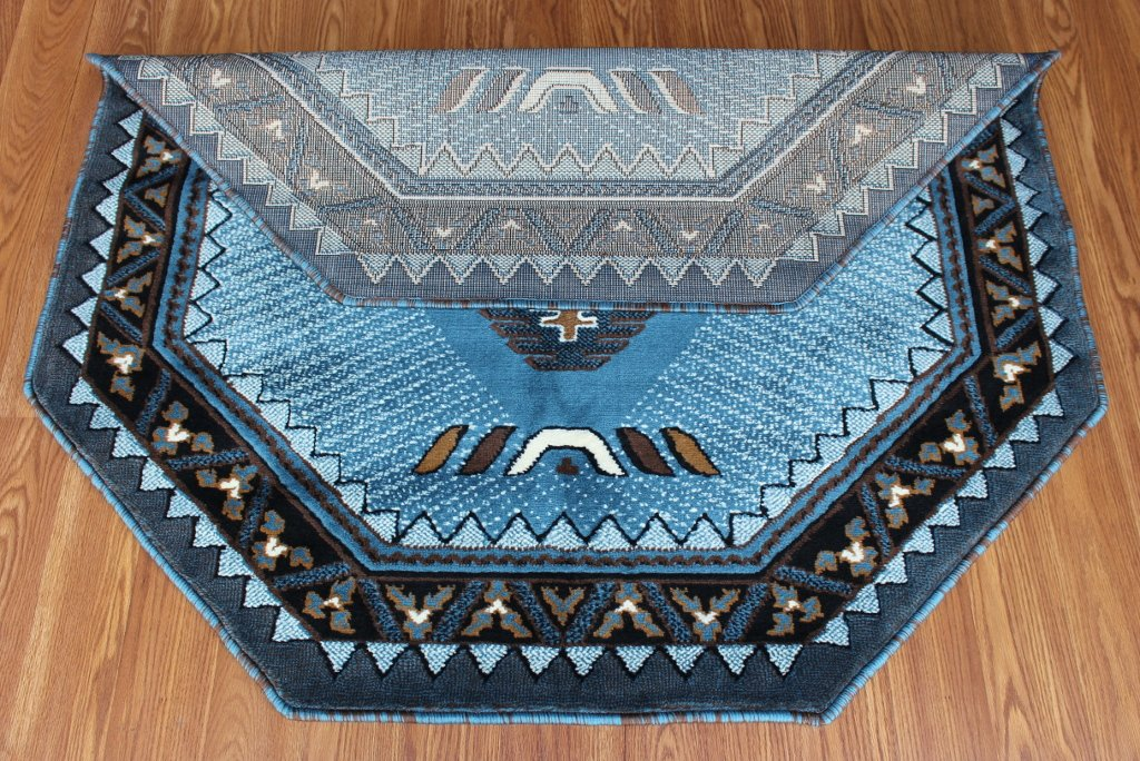 Native American Octagon Area Rug Design Kingdom D 143 Blue Brown (4 Feet X 4 Feet) Octagon