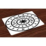Ambesonne Rune Place Mats Set of 4, A Ring with The Ancient Old Nordic Runes with an Illustration of a Sun Symbol, Washable Fabric Placemats for Dining Room Kitchen Table Decoration, Black and White (Tamaño: 12.5