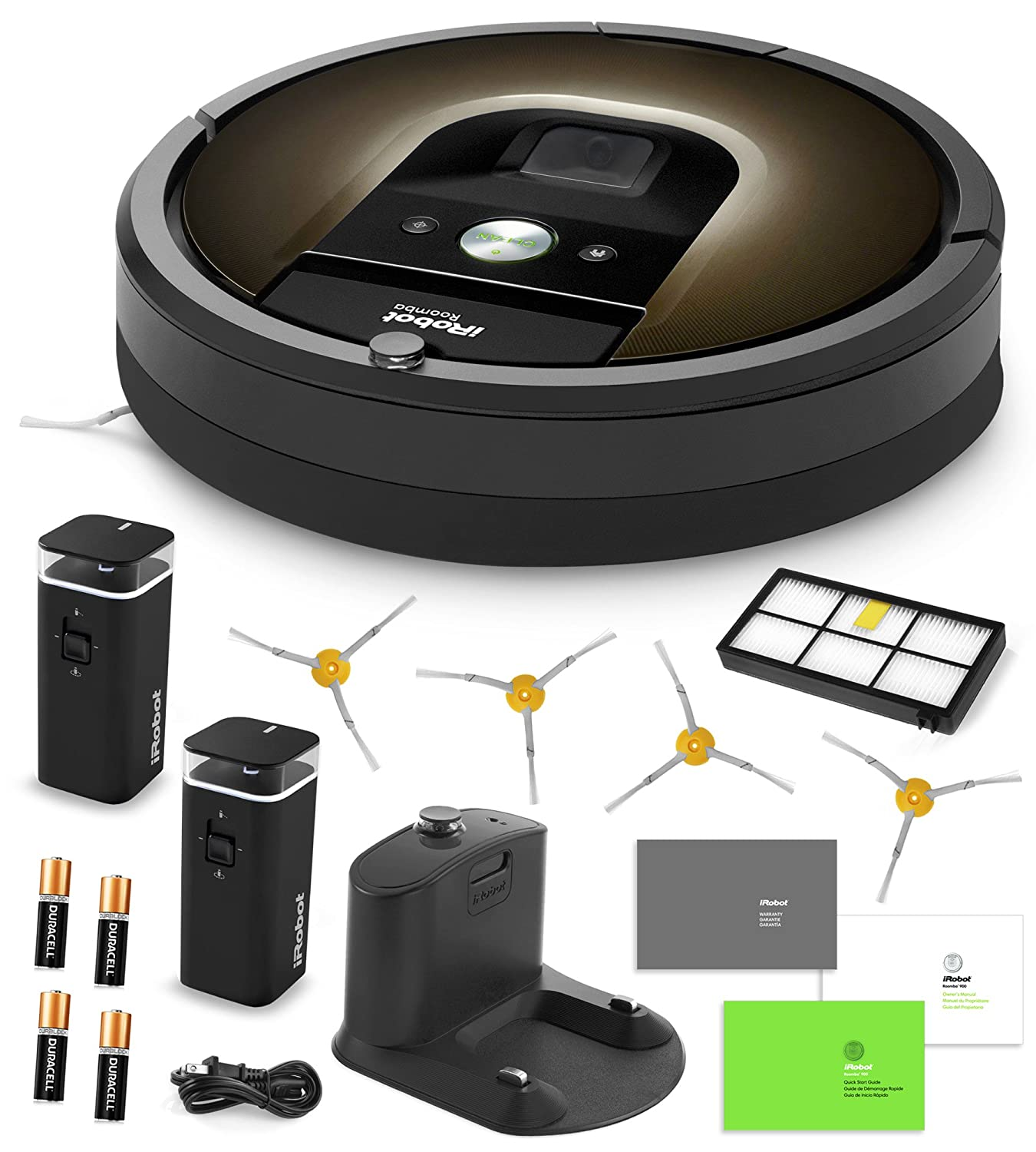 iRobot Roomba 980 Vacuum Cleaning Robot + 2 Dual Mode Virtual Wall Barriers (With Batteries) + 4 Extra Side Brushes + Extra HEPA Filter + More