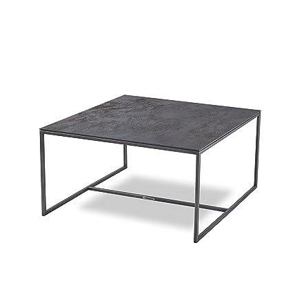 MASSIMILANO Couchtisch, Edelstahl Iron Grey, Keramik tischplatte Oxide Nero, LxBxH 77x77x40cm