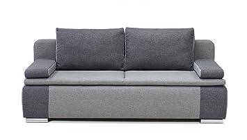 B-famous 100620 Lina Dauerschläfer-Sofa, feiner Strukturstoff, 87 x 201 x 88 cm, grau / hellgrau