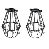 Set of 2 Industrial Vintage Style Black Hanging Pendant Light Fixture Metal Wire Cage , Lamp Guard, Adjustable Cage Openings to Different Styles …