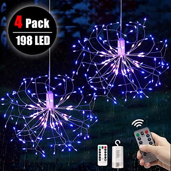 4 packs Firework Lights Copper Wire LED Lights, 8 Modes 198 LED Dimmable String Fairy Lights with Remote Control, Waterproof Hanging Starburst Lights for Parties,Home,Christmas Outdoor Decoration (Color: 198 LED Dandelion redWhite_Whiteblue, Tamaño: 4 pack)