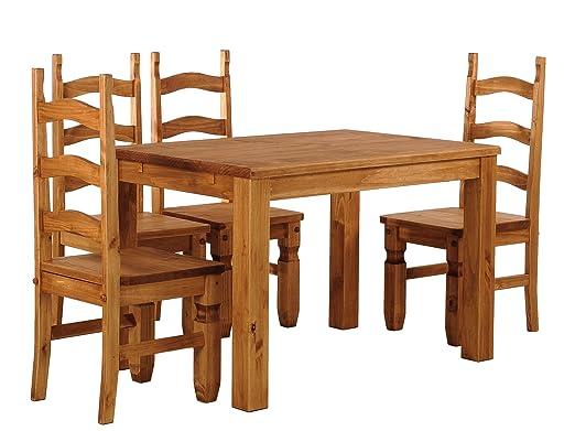 Brasilmöbel Esstisch Rio Classico 130x80 cm + 4 x Stuhl Rio Mexiko Farbton Honig