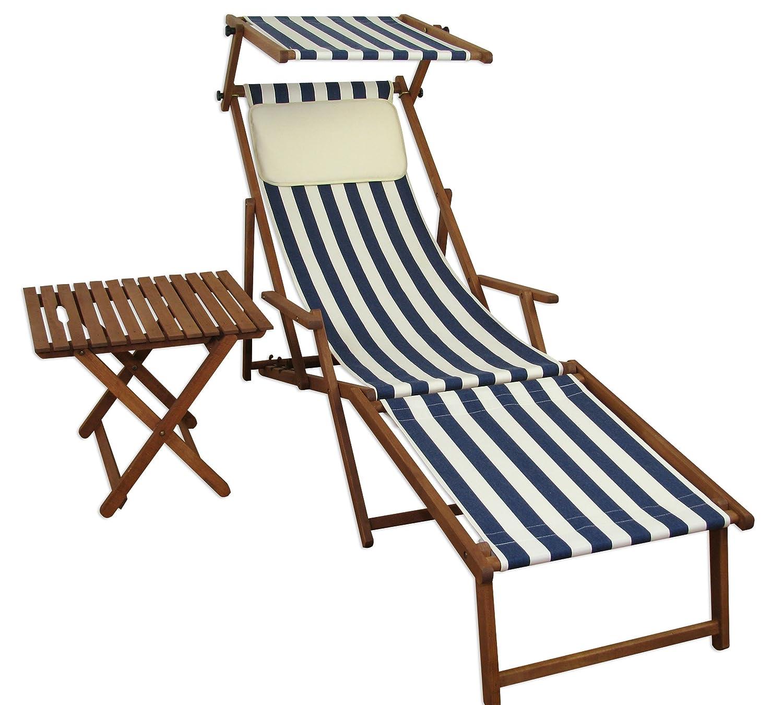 Sonnenliege Gartenliege Deckchair Saunaliege mit Dach + Fußteil + Tisch Beige