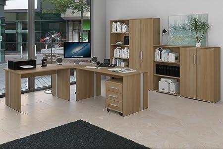 8-teiliges Buromöbel-Set, Arbeitszimmer mit 1 Eckschreibtisch, 2 Aktenschränken, 2 Regalen und 1 Rollcontainer im Dekor Buche