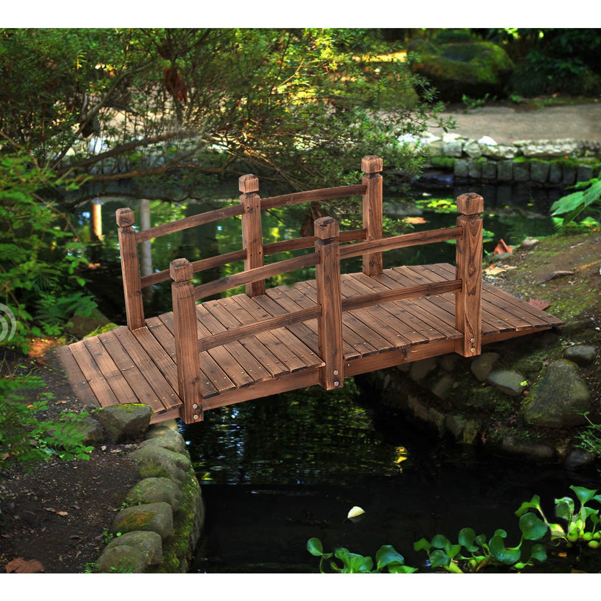 Giantex 5 Garden Bridge Wooden Decorative Pond Bridge Arch Walkway w/ Railings