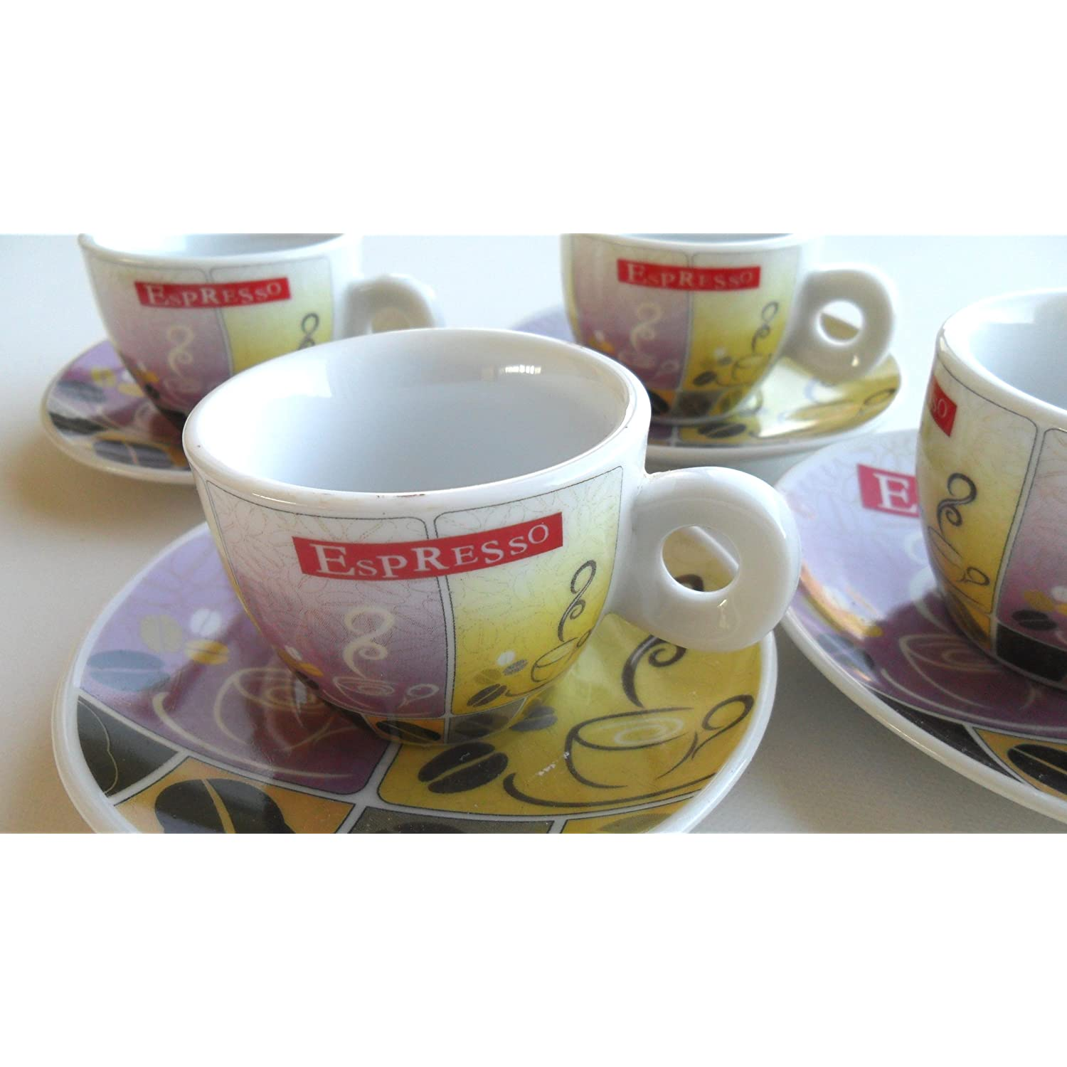 Espresso Coffee Cups Set of 4 Demitasse Cups with European Coffee Bean Motif