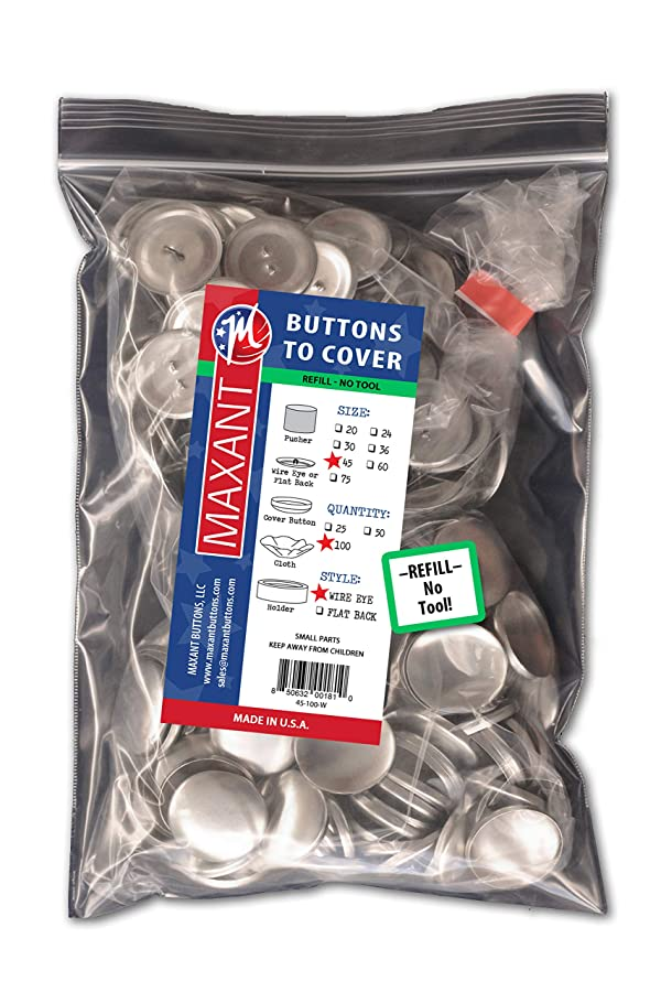 100 Buttons to Cover - Made in USA - Cover Buttons With Wire Eye Backs Size 45 (1 1/8) (Tamaño: Size 45 Wire - Qty 100)