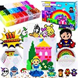 FunzBo Fuse Beads Craft Kit - 111 Patterns Melty Fusion Colored Beads Arts and Crafts Pearler Set for Kids - 5500 5mm Bead 9 pegboards for Boys Girls Age 5 6 7 Classroom Activity Gift Toy (Tamaño: X-Large)