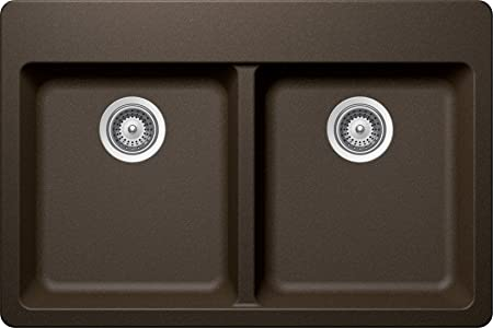 SCHOCK ALIN200T087 ALIVE Series CRISTADUR 50/50 Topmount Double Bowl Kitchen Sink, Bronze