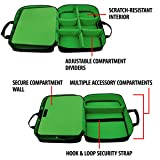USA Gear Case Compatible with Xbox One / Xbox One X Travel Carrying Bag for Console, Controllers, Games & More w/ Adjustable Shoulder Strap, Accessory Storage Pockets, & Customizable Interior - Green (Color: Black and Green)