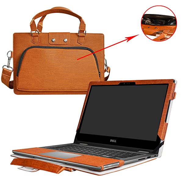 Inspiron 17 5770 5775 Case,2 in 1 Accurately Designed Protective PU Leather Cover + Portable Carrying Bag for 17.3 Dell Inspiron 17 5000 Series i5770 i5775 Laptop,Brown (Color: Brown)