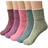 Loritta 5 Pairs Womens Vintage Style Winter Warm Thick Knit Wool Cozy Crew Socks,Free size,Multicolor (Color: Multicolor 01, Tamaño: Free size)