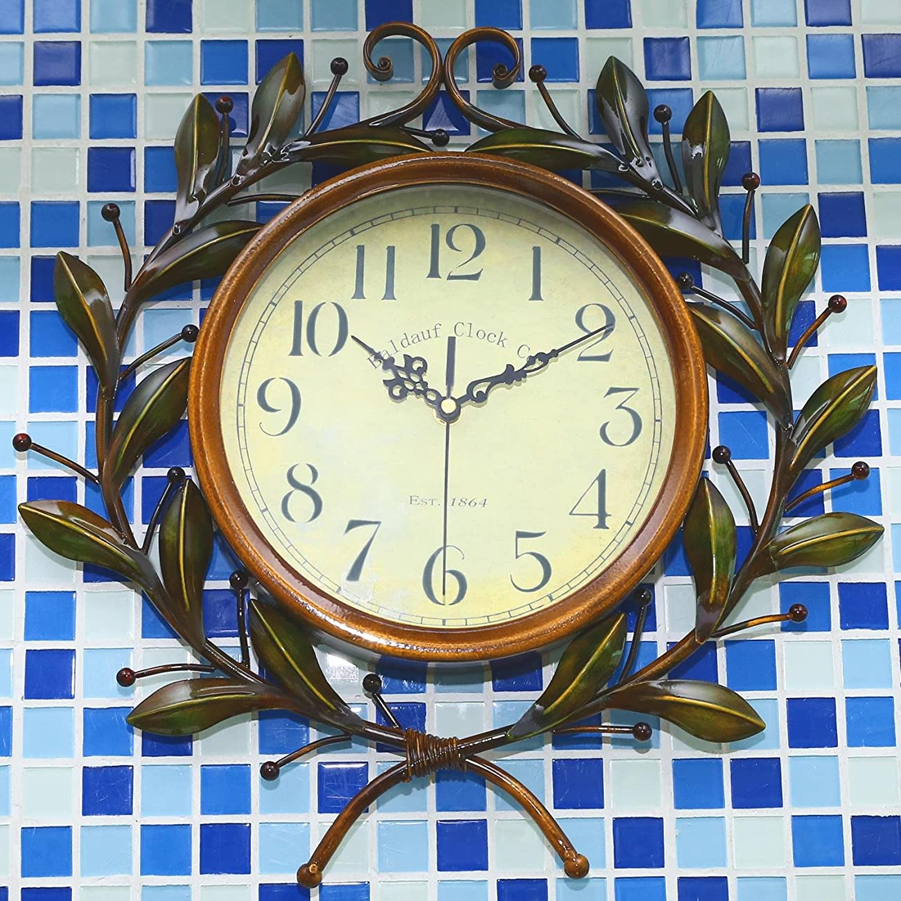Soledi Vintage Wall Clock Classic Silent Non-ticking For Home Decoration Olive Branch Design 7