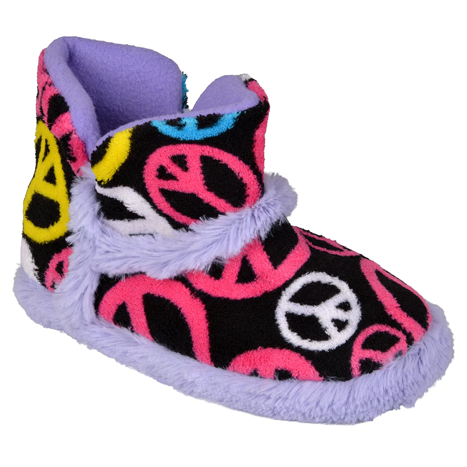 Brinley Co. Kids Peace Design Ankle Bootie Slipper co e