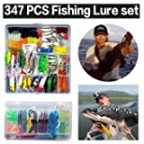 XBLACK Hard Fishing Lure Set 43pcs Assorted Bass Fishing Lure Kit Colorful Minnow Popper Crank Rattlin VIB Jointed Fishing Lure Set Hard Crankbait Tackle Pack for Saltwater or Freshwater (347pcs) (Color: 347pcs)