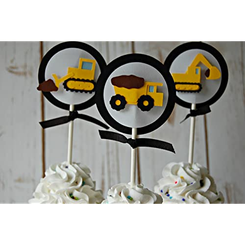 Construction Truck Party Cupcake Toppers (set of 12)