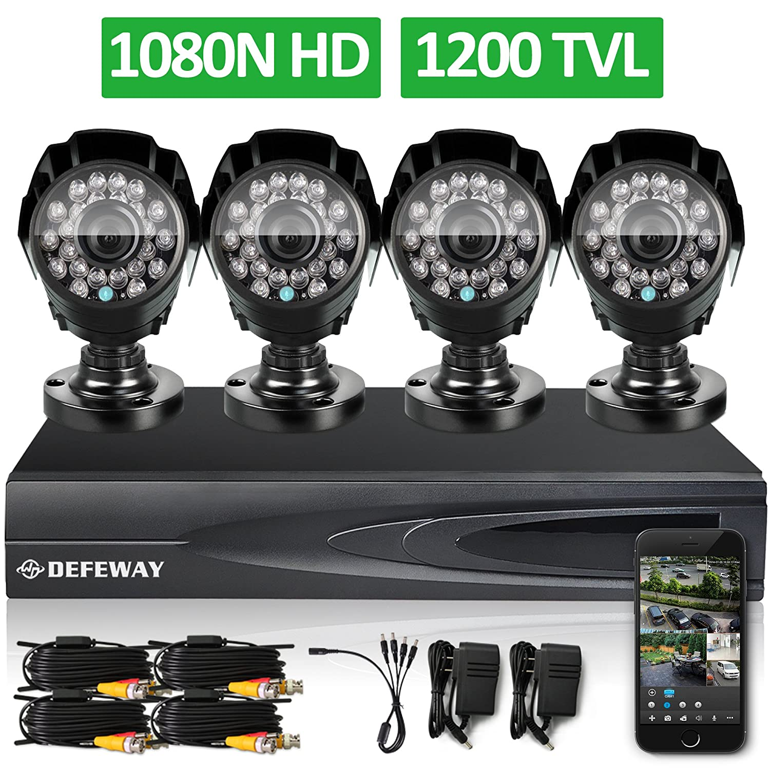 best security cameras for home use  - DEFEWAY 1080N DVR 1200TVL 720P HD Outdoor
