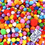 Caydo 2000 Pieces Assorted Sizes Multicolor Pompoms Glitter Pom Poms with 4 Sizes Wiggle Googlys Eyes for Hobby DIY Art Craft Supplies