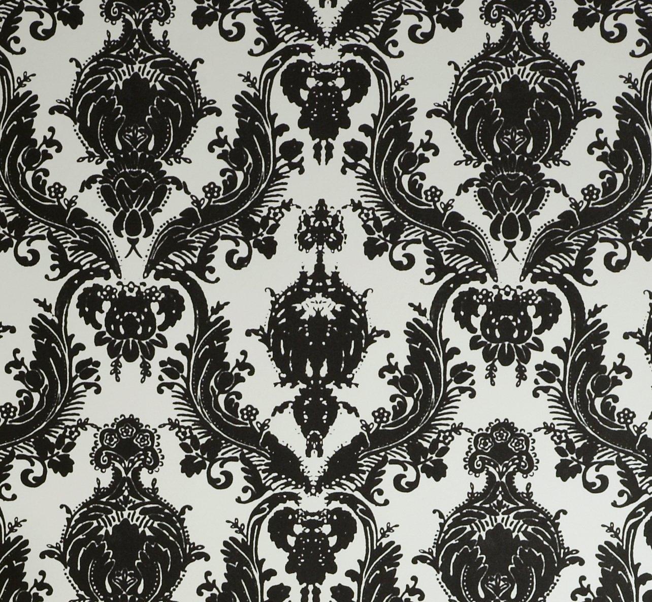 vintage wallpaper 1 tempaper designs da 005 damsel self adhesive temporary wallpaper white and. Black Bedroom Furniture Sets. Home Design Ideas