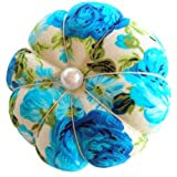 CUSHYSTORE Blue Floral Flower Garden White Wrist Pin Needle Cushion Adjustable Elastic Band Pincushion Wearable Cute Pumpkin Pins Needles Pincushions Holder Safety Elastic Band for Sewing Crafting (Color: Blue, Tamaño: 3