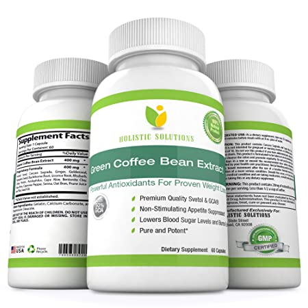 Pure Green Coffee Bean GCA Extract, Powerful Antioxidant with the Most Potent GCA for Proven All Natural Weight Loss, 60 Capsules