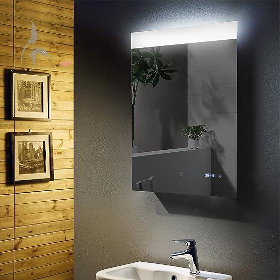 LED Specchio Bagno Illuminato Con Orologio Digitale Integrato, Bonn 60x 80cm, Specchio da bagno con ampio campo di luce su, classe di efficienza energetica A +