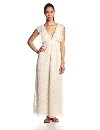 Tbags Los Angeles Women's Lace V-Neck Maxi Dress, Natural, Small