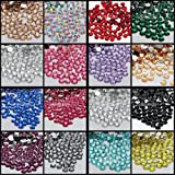 Leo-4Beauty - 10000 pcs 6mm 6.5mm Shiny Resin Rhinestone 14 Facets Gem Flat Back Crystal Beads DIY Beauty Nail Art Phone Case (Color: Crystal Clear N01)