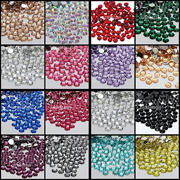Leo-4Beauty - 10000 pcs 6mm 6.5mm Shiny Resin Rhinestone 14 Facets Gem Flat Back Crystal Beads DIY Beauty Nail Art Phone Case (Color: Red N05)