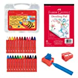 Faber-Castell Back to School Beeswax Crayon Coloring Set - 24 Beeswax Crayons, Crayon Sharpener & Doodle Pad (Color: Multi, Tamaño: 24 Count (Coloring Bundle))