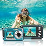 Waterproof Point and Shoot Digital Cameras,24MP 1080P Dual Screen Underwater Sports Action Video Recorder Cameras-Blue (Color: Blue)