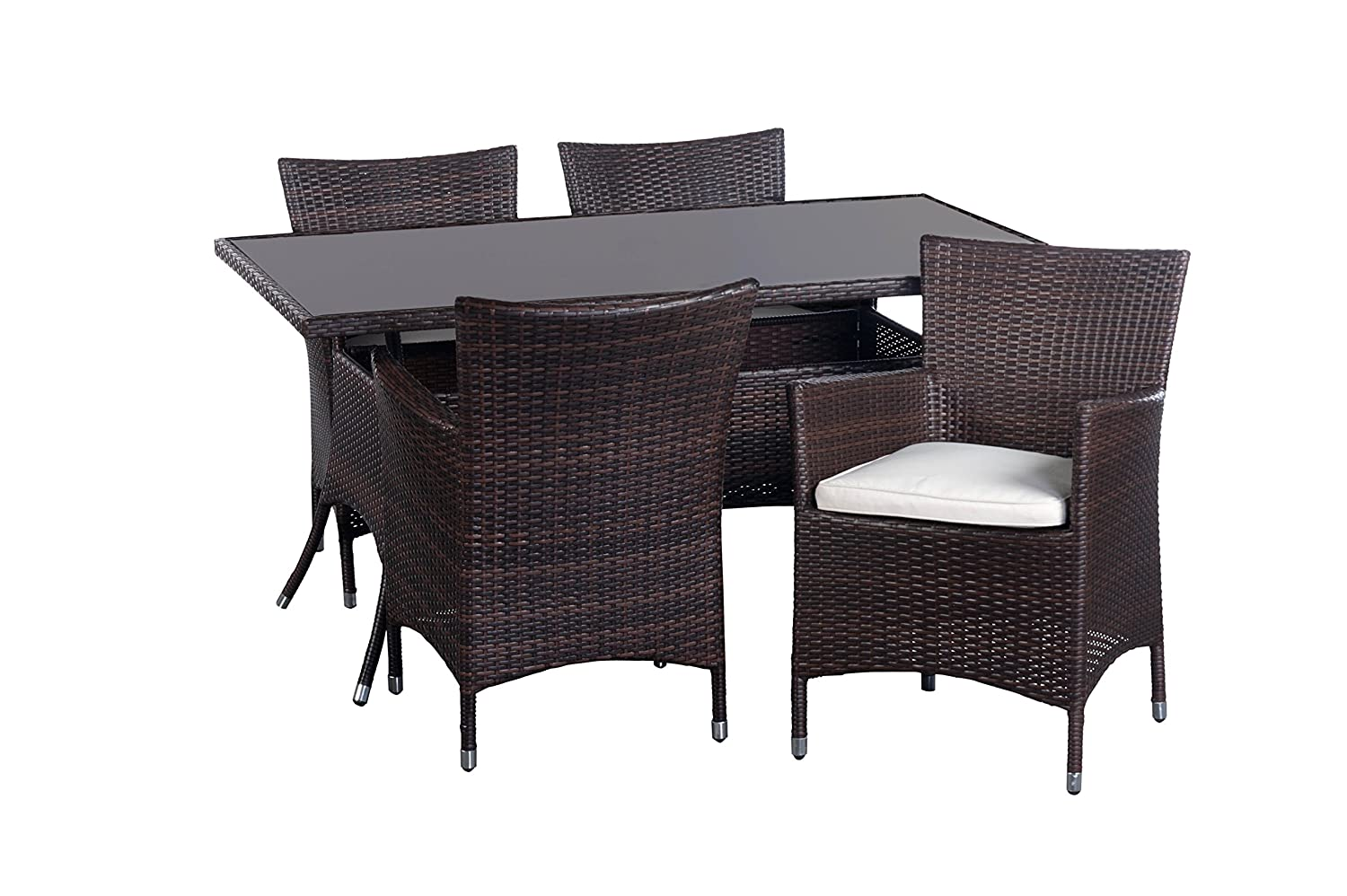 5tlg garnitur p rattan glas 150x90cm rattanst hle. Black Bedroom Furniture Sets. Home Design Ideas