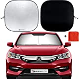 Shinematix 2-Piece Windshield Sun Shade - Foldable Car Front Window Sunshades for Most Sedans SUV Truck - Best 210T Reflective Material Blocks 99% UV Rays and Keeps Your Vehicle Cool - Universal Fit (Color: Grey, Tamaño: Universal)