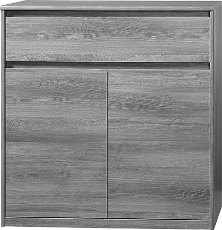 CS Schmalmöbel 75.074.074/23 Grifflose Kommode Soft Plus Smart Typ 23, 45 x 106 x 110 cm, silbereiche