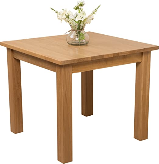 Hermosa Berlin Square Dining Table with Clear Lacquer Finish, Solid Oak, Natural Oak, 90 x 90 x 77 cm