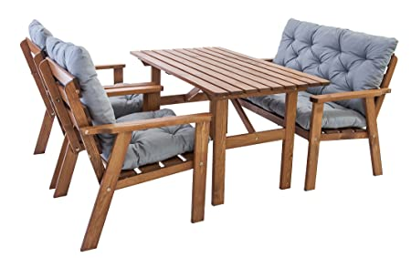 Ambientehome HANKO Solid Wood Garden Furniture Patio Terrasse Dining Set with Grey Cotton Cushions - Brown (7-Piece)