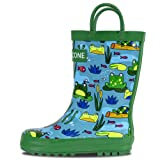 LONECONE Rain Boots with Easy-On Handles in Fun Patterns for Toddlers and Kids, Frog Pond, Toddler 6
