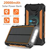 Solar Charger 20000mAh, Qi Wireless Portable Solar Power Bank External Backup Battery, 3 Output Ports, 4 LED Flashlight, Carabiner, IP54 Rainproof for Camping, Outdoor Activities (Color: 1 Panel)