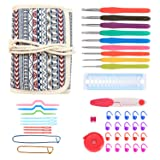 Damero Ergonomic Crochet Hooks Kit Organizer, Travel Canvas Roll Set with 9pcs Crochet Hooks, Comfortable Rubber Grip and Crocheting Accessories Supplies, Carrying with Ease, Bohemian (Color: Bohemian)